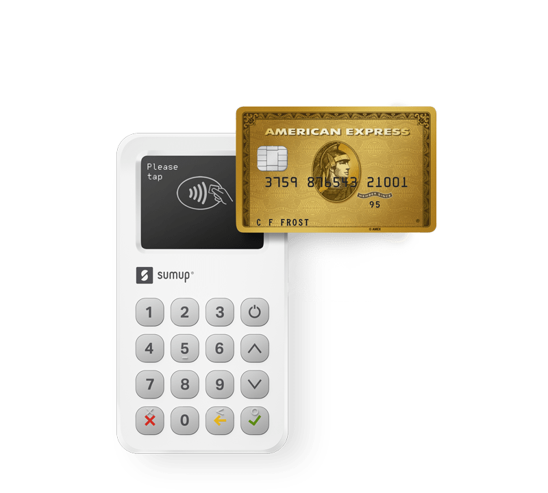SumUP card reader with American Express Gold Card